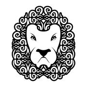 Lion tattoo. Mane ornament. Leo tattooing. wild animal Piirros