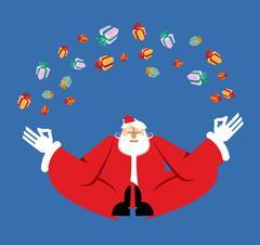 Santa Claus yogi Meditation and gifts. Christmas yoga. New Year Zen. Grandf.. Stock Illustration