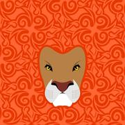 Lion Abstract emblem. Mane Oriental ornament. wild animal Piirros