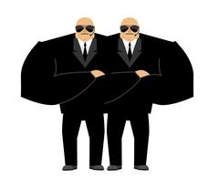 Bodyguard isolated. Security guard face control of nightclub. Black suit an.. Stock Illustration