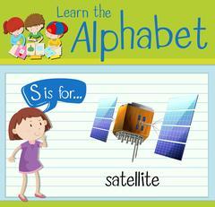 Flashcard letter S is for satellite Stock Illustration