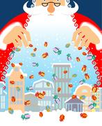 Santa Claus rain gifts in city. Christmas in town. Snow and buildings. New .. Piirros