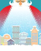 Santa Claus in city. Christmas in town. Snow and buildings. New Year card. .. Stock Illustration