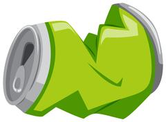 Used aluminum can in green color Stock Illustration