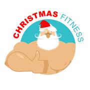 Christmas fitness. Strong Santa thumbs up. Holiday Training. Gesture of han.. Stock Illustration