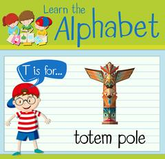 Flashcard letter T is for totem pole Stock Illustration