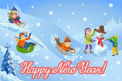 Vector illustration of new year congratulation card with winter landscape happy Stock Illustration