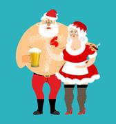 Bad Santa and Mrs. Claus isolated. drunk Christmas family. Woman in red dre.. Stock Illustration