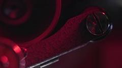 70mm Film Projector Gear Macro Stock Footage