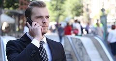 Happy Business Man Talking Mobile Phone Receiving Good News Rush Hour City Crowd Stock Footage