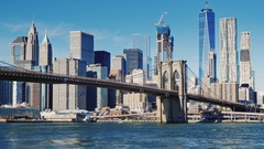 Cityscape of Manhattan and Brooklyn Bridge. Clear autumn day Stock Footage