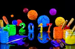 New year 2017 paint by plastisol ink Stock Photos