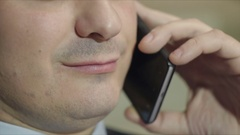 Head rude to his subordinates in a telephone conversation Stock Footage