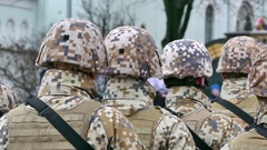 Unrecognizable formation of soldiers from back Stock Footage