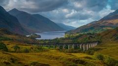 UK, Scotland, Highland, Loch Shiel, Glenfinnan, Glenfinnan Railway Viaduct Stock Footage