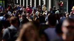 UK, England, London, Oxford Street, Crowds of Shoppers Stock Footage