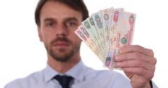 Closeup Macro Shot United Arab Emirates Emirati Dirham Banknotes Cash Aed Money Stock Footage