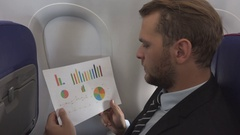 Business Man Looking Pie Chart Check Finance Sales Graph Airplane Flight Travel Stock Footage
