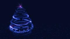 Hi-tech Blue Christmas Tree Backdrop. Stock Footage