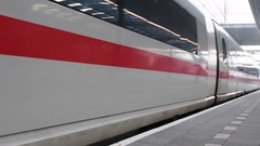 ICE Intercity-Express High Speed train leaving Utrecht Central Station Stock Footage