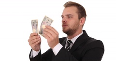 Businessman Count Japanese Yen Banknotes Money Payday Cash Income Salary Concept Stock Footage