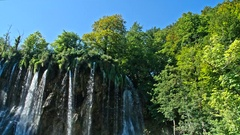 Picturesque waterfalls scenery in Plitvice Lakes National Park Stock Footage
