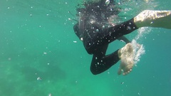Whitsunday Island, Snorkeling, Young Man Swimming Stock Footage