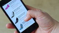 E-store. Selecting a Women's Shoes Stock Footage