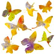 Butterfly silhouette. Watercolor illustration. Isolated on white Stock Illustration