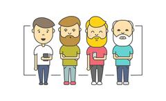 Isolated flat hipster men with beard using smartphone Stock Illustration