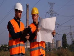Electricians Engineer Men Collaboration Check Scheme Plan Writing Electric Tower Stock Footage