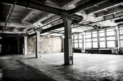 Old abandoned factory hall Stock Photos