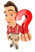 3d handyman holding a question mark icon Stock Illustration