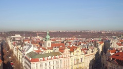 Sloped roofs and gothic spires of old town of Prague on a sunny day, Czech Stock Footage