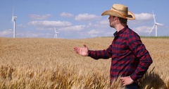 Attractive Farmer Man Talking Organic Agriculture Bio Farming Wheat Field Crop Stock Footage