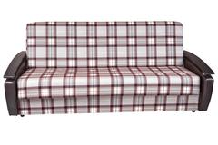 When folded, sofa bed of checkered cloth, isolated on white . Stock Photos