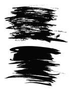 Set of black paint, ink brush strokes, brushes, lines. Dirty artistic design Stock Illustration