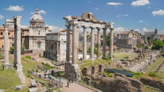Panoramic view on old ruins and columns of Roman Forum in Italy, tourism in Rome Stock Footage