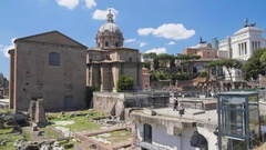 View on ancient Santi Luca e Martina church situated near Roman Forum in Italy Stock Footage