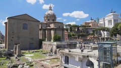 Ancient ruins of Roman Forum, panoramic view on Santi Luca e Martina church Stock Footage