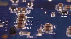Chip processor computer circuit board electronic macro 4k Stock Footage