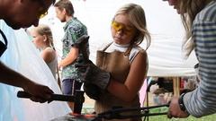 Blacksmith. Celebration. Craft. Girl. Russia. Stock Footage