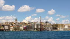 Galata Port Cruise Ship Terminals under reconstruction. Panning from water side Stock Footage