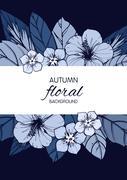 Indigo autumn floral design with hibiscus flowers Stock Illustration