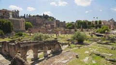 Open-air museum Roman Forum and antique church in Rome, Italy, panoramic view Stock Footage