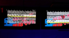 Tilt down from digital scoreboard to friends competing in bowling together, club Stock Footage