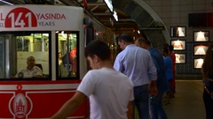 Funicular passengers get on board. Tunnel is the second oldest underground Stock Footage