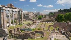 Groups of tourists enjoying interesting tour in Roman Forum museum, sightseeing Stock Footage