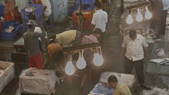 Hanging bulbs covered in spider web in a busy fish market Stock Footage