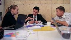Business people brainstorming on meeting at office Stock Footage